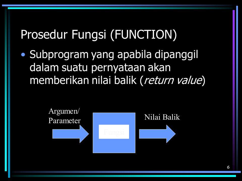 Prosedur Fungsi (FUNCTION)