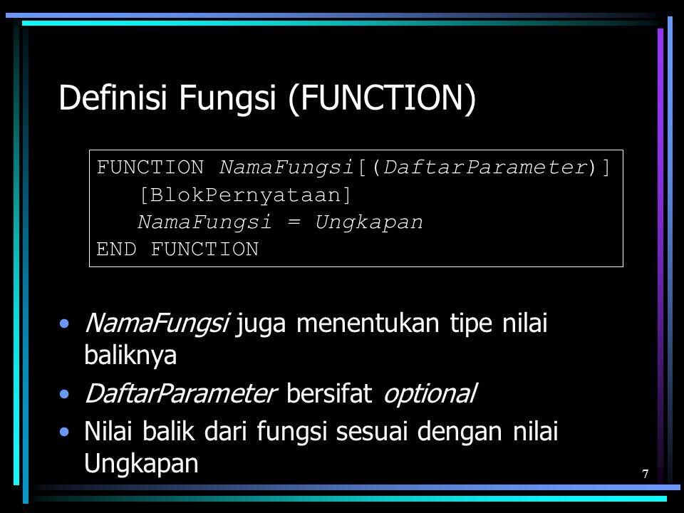 Definisi Fungsi (FUNCTION)