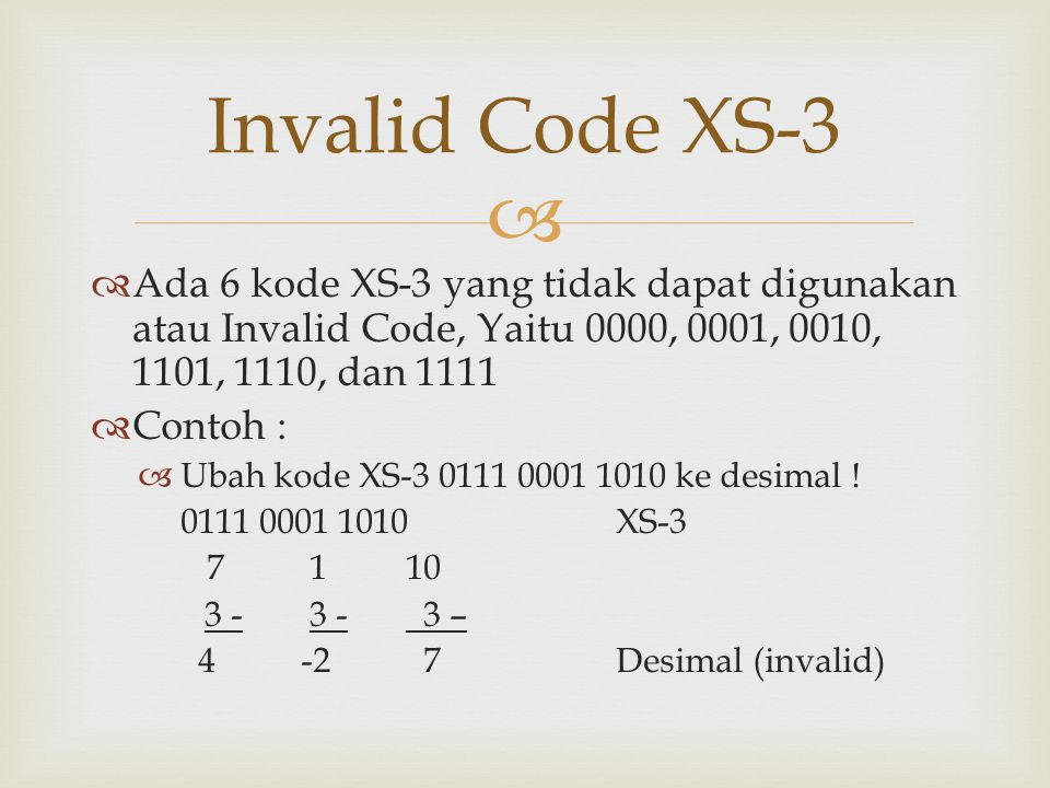 Invalid Code XS-3 Ada 6 kode XS-3 yang tidak dapat digunakan atau Invalid Code, Yaitu 0000, 0001, 0010, 1101, 1110, dan 1111.