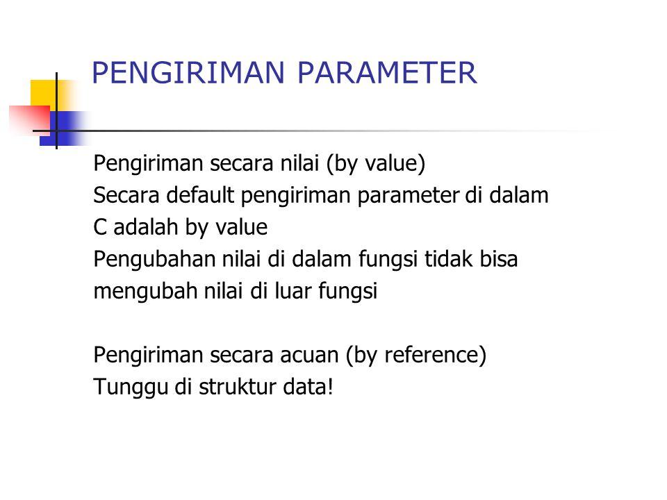 PENGIRIMAN PARAMETER Pengiriman secara nilai (by value)