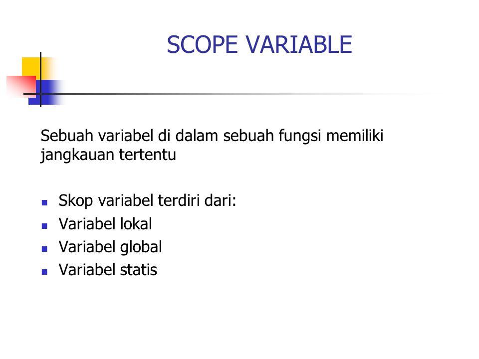 SCOPE VARIABLE Sebuah variabel di dalam sebuah fungsi memiliki jangkauan tertentu. Skop variabel terdiri dari: