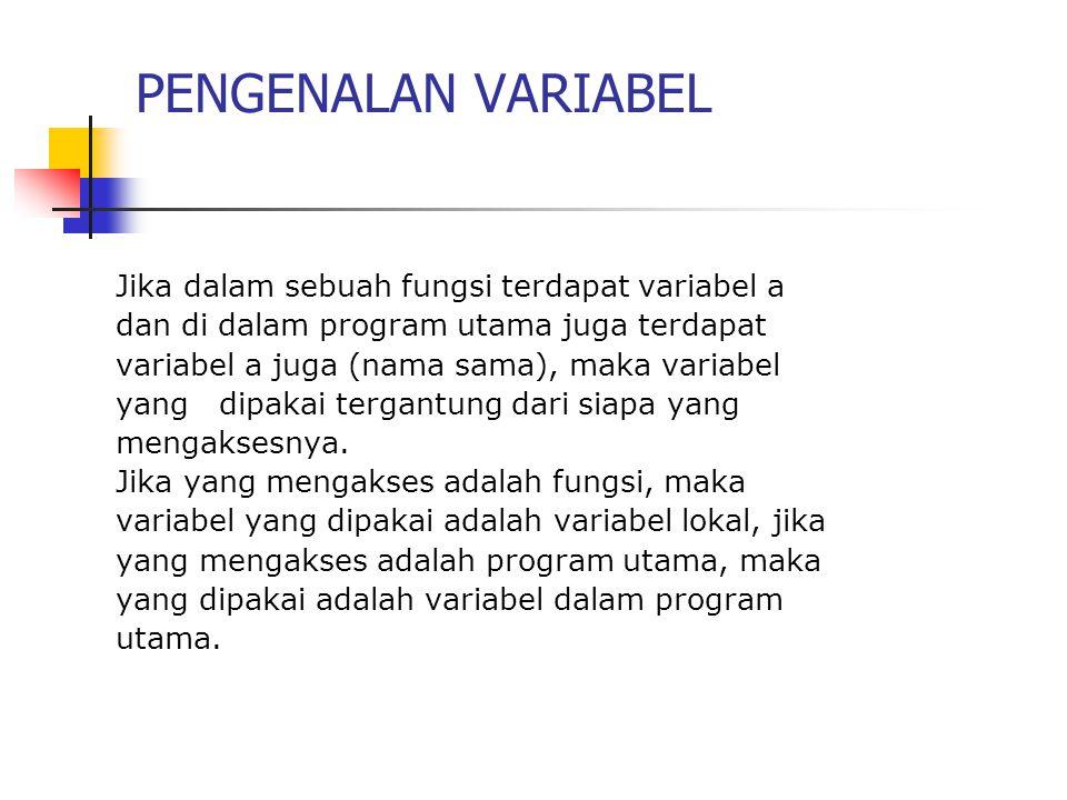 PENGENALAN VARIABEL Jika dalam sebuah fungsi terdapat variabel a