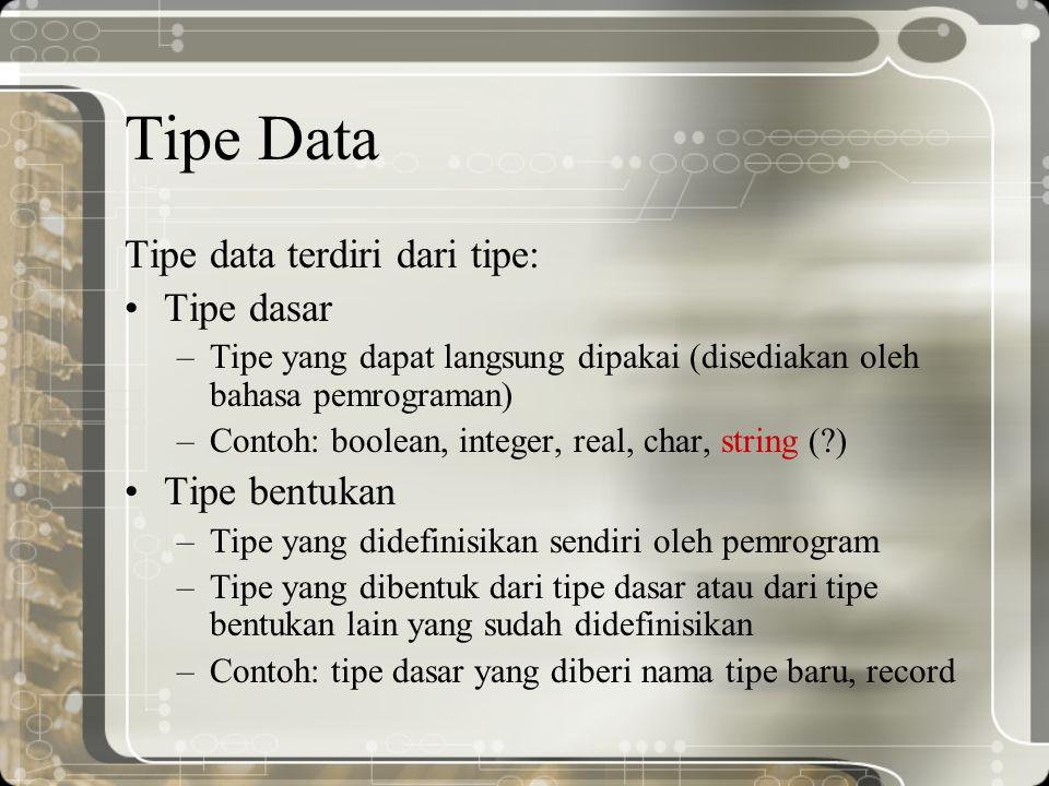 Tipe Data Tipe data terdiri dari tipe: Tipe dasar Tipe bentukan