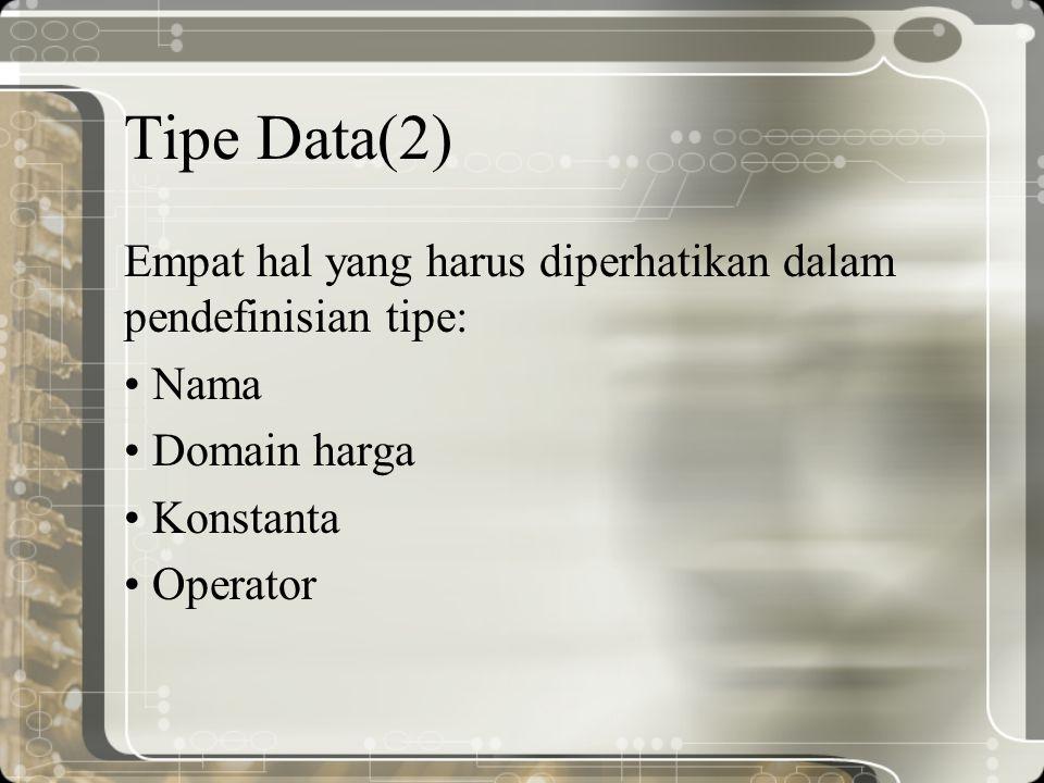 Tipe Data(2) Empat hal yang harus diperhatikan dalam pendefinisian tipe: Nama. Domain harga. Konstanta.