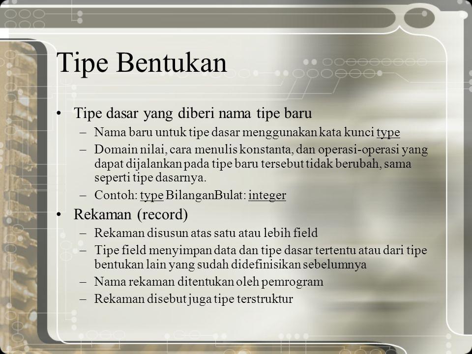 Tipe Bentukan Tipe dasar yang diberi nama tipe baru Rekaman (record)