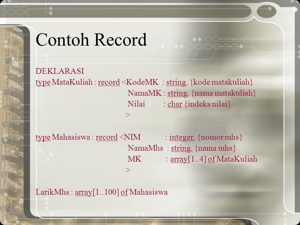 Contoh Record DEKLARASI