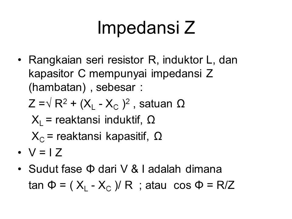 Impedansi Z Rangkaian seri resistor R, induktor L, dan kapasitor C mempunyai impedansi Z (hambatan) , sebesar :