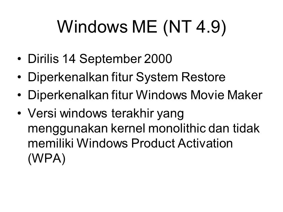 Windows ME (NT 4.9) Dirilis 14 September 2000