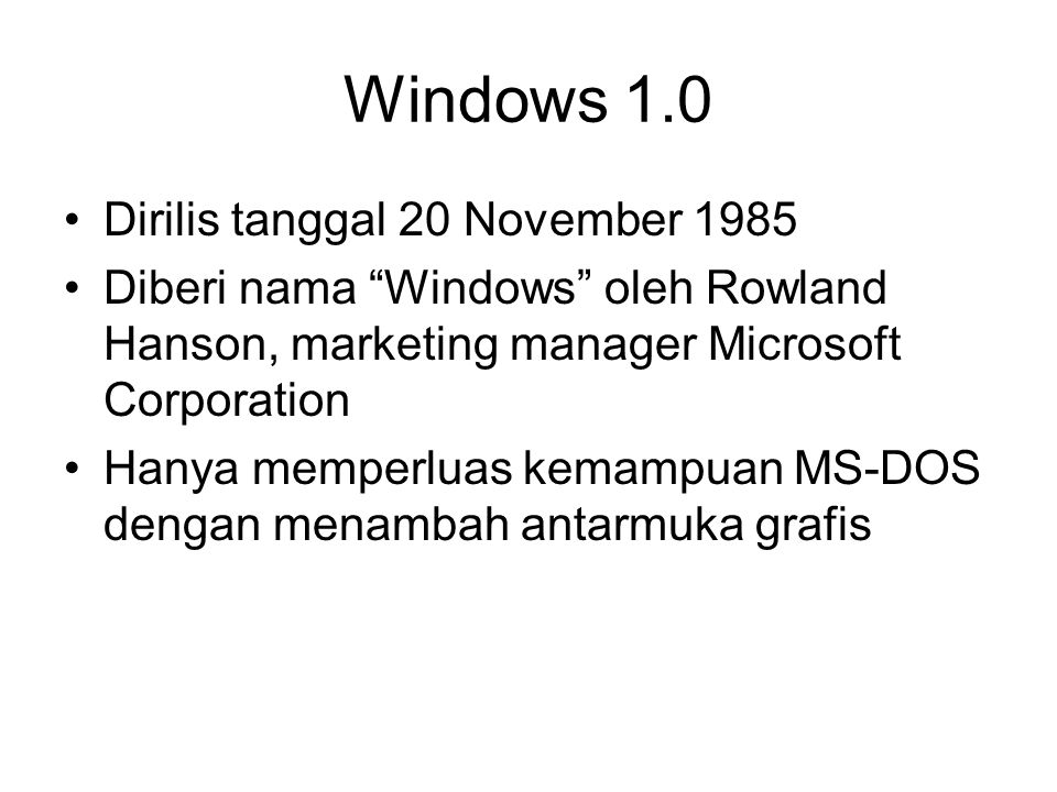 Windows 1.0 Dirilis tanggal 20 November 1985