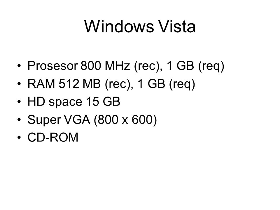 Windows Vista Prosesor 800 MHz (rec), 1 GB (req)