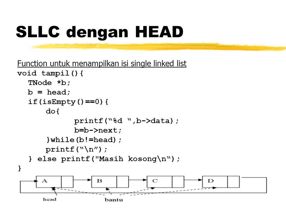 SLLC dengan HEAD Function untuk menampilkan isi single linked list