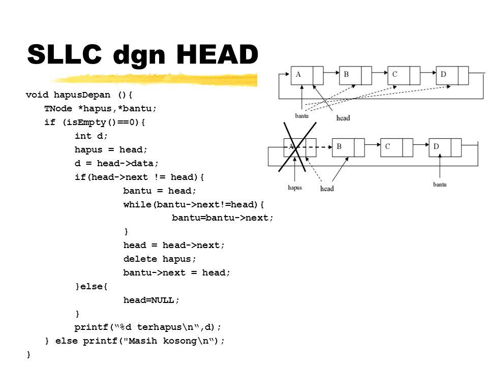 SLLC dgn HEAD void hapusDepan (){ TNode *hapus,*bantu;