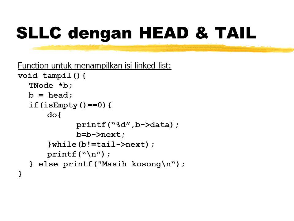 SLLC dengan HEAD & TAIL Function untuk menampilkan isi linked list: