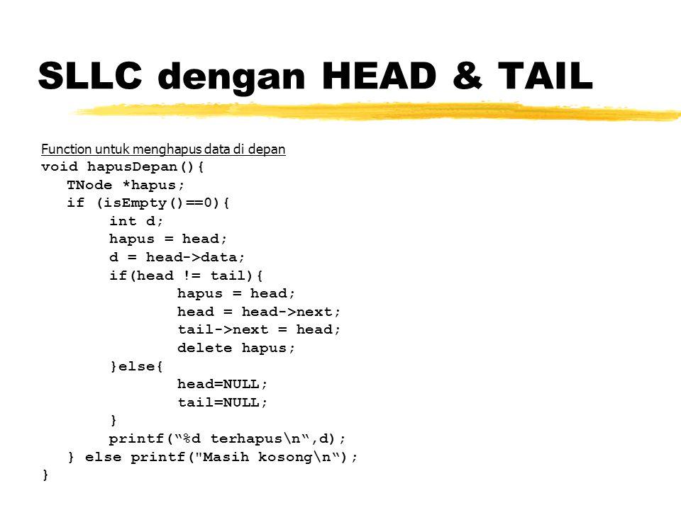 SLLC dengan HEAD & TAIL void hapusDepan(){ TNode *hapus;