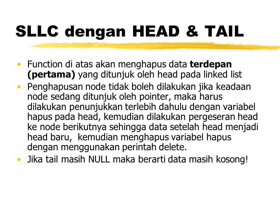 SLLC dengan HEAD & TAIL Function di atas akan menghapus data terdepan (pertama) yang ditunjuk oleh head pada linked list.