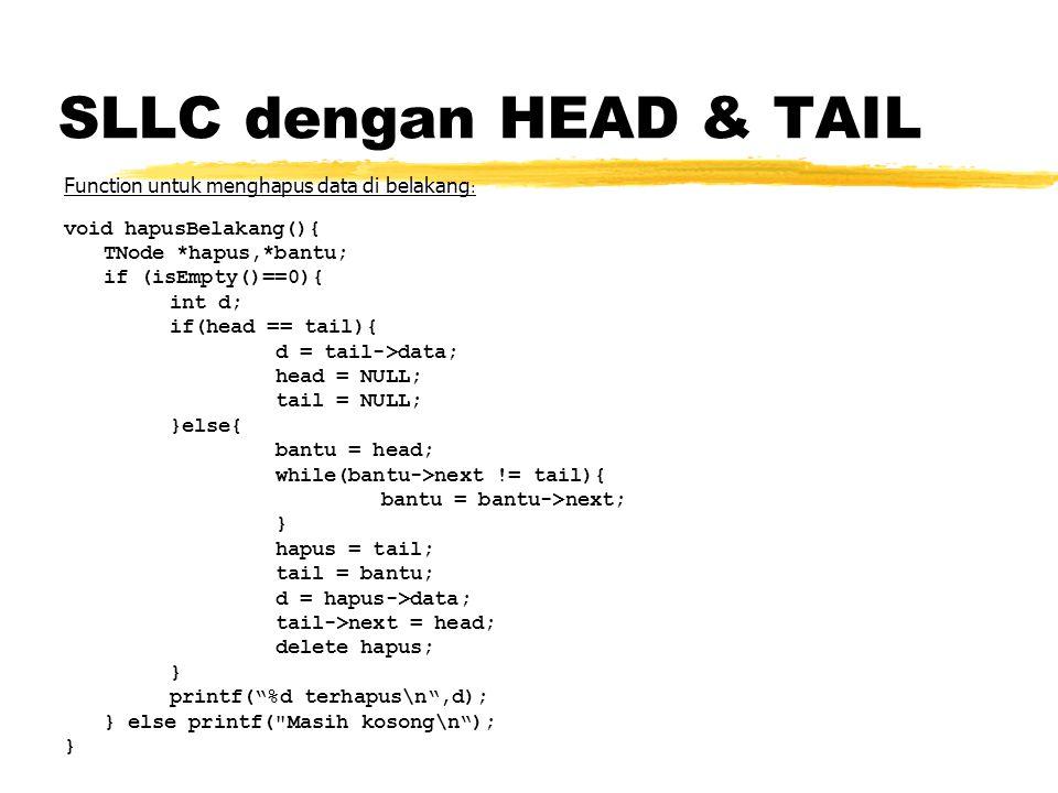 SLLC dengan HEAD & TAIL Function untuk menghapus data di belakang: