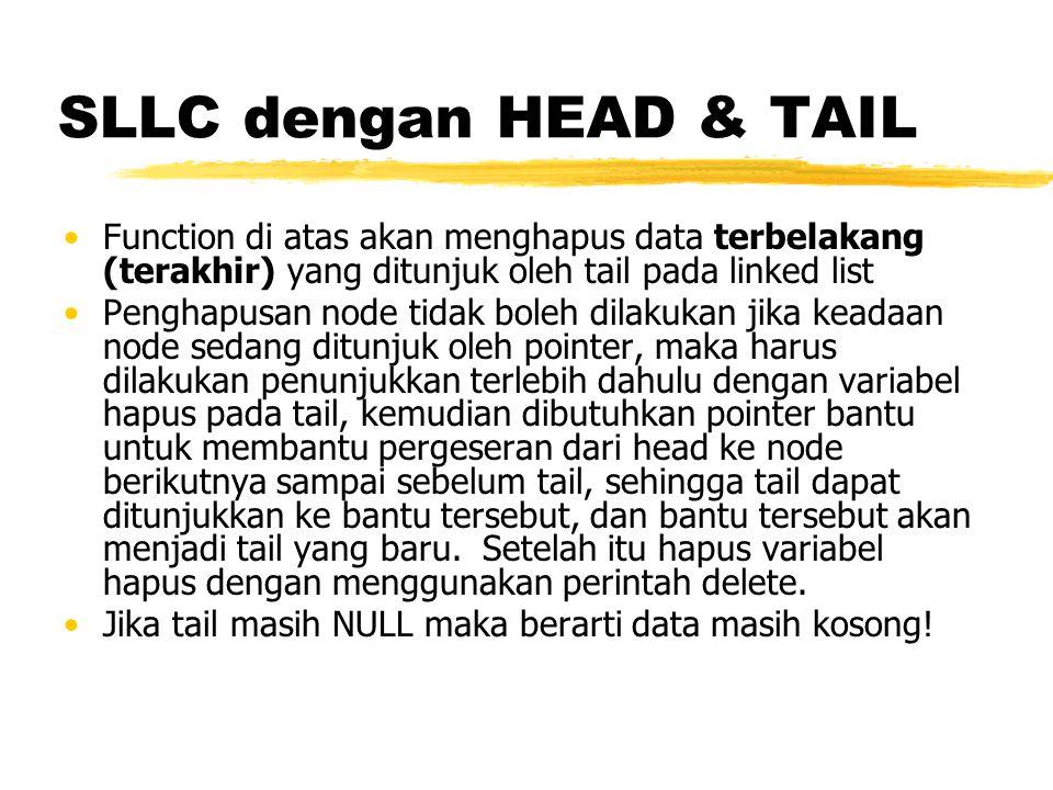 SLLC dengan HEAD & TAIL Function di atas akan menghapus data terbelakang (terakhir) yang ditunjuk oleh tail pada linked list.