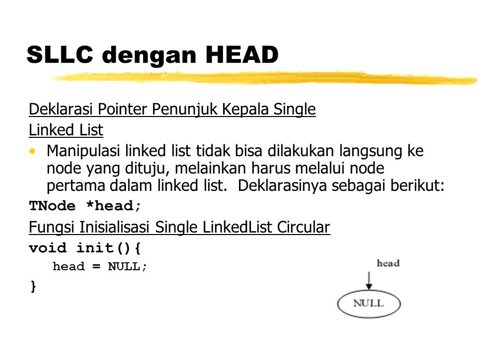 SLLC dengan HEAD Deklarasi Pointer Penunjuk Kepala Single Linked List