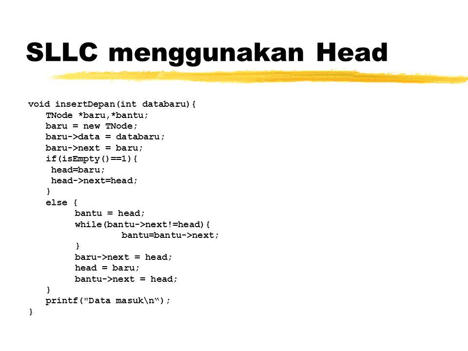SLLC menggunakan Head void insertDepan(int databaru){
