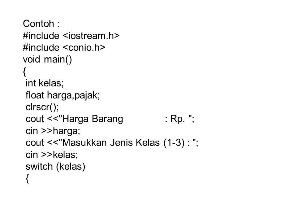 Contoh : #include <iostream.h> #include <conio.h> void main() { int kelas; float harga,pajak; clrscr();