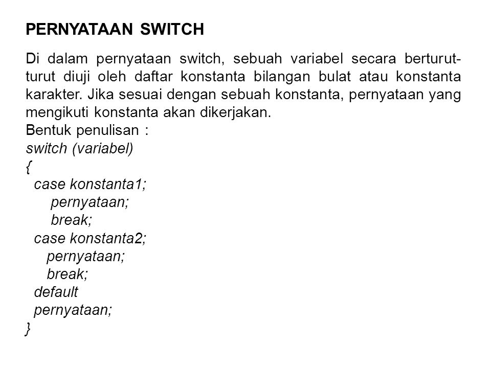 PERNYATAAN SWITCH