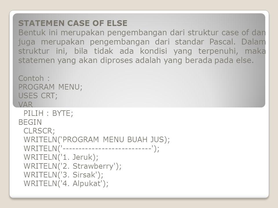 STATEMEN CASE OF ELSE