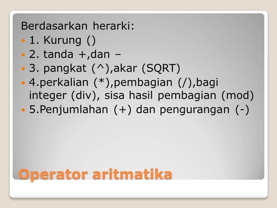 Operator aritmatika Berdasarkan herarki: 1. Kurung () 2. tanda +,dan –