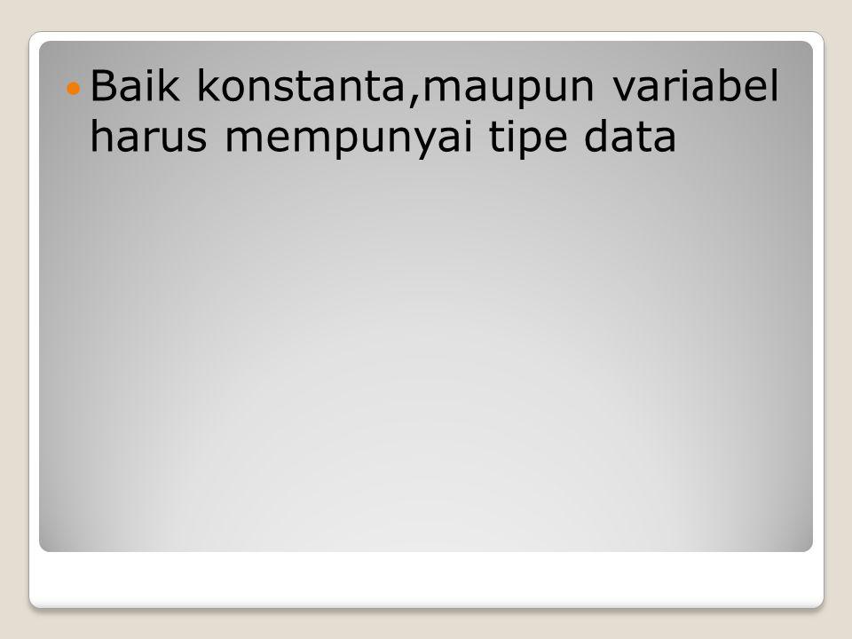 Baik konstanta,maupun variabel harus mempunyai tipe data