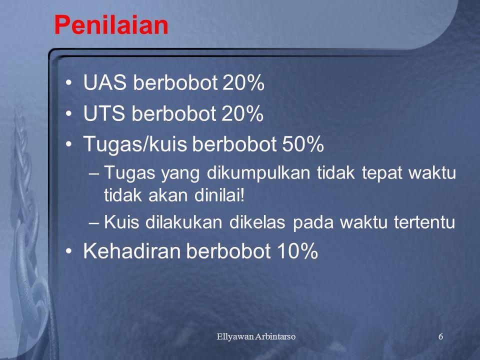 Penilaian UAS berbobot 20% UTS berbobot 20% Tugas/kuis berbobot 50%