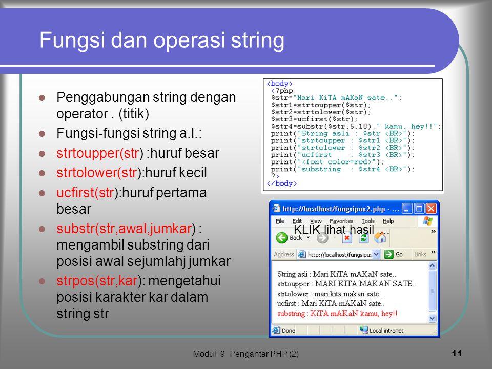 Fungsi dan operasi string