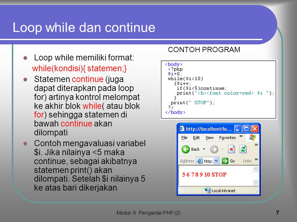 Loop while dan continue
