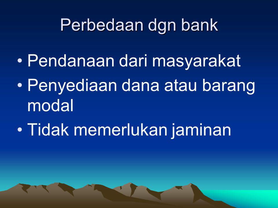 Perbedaan dgn bank Pendanaan dari masyarakat. Penyediaan dana atau barang modal.