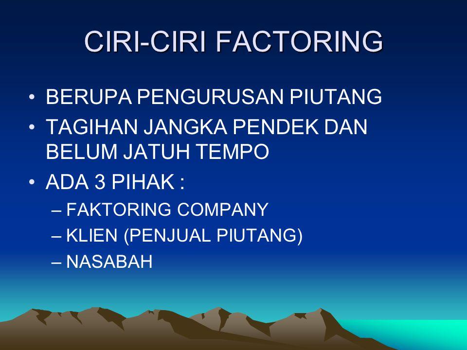 CIRI-CIRI FACTORING BERUPA PENGURUSAN PIUTANG