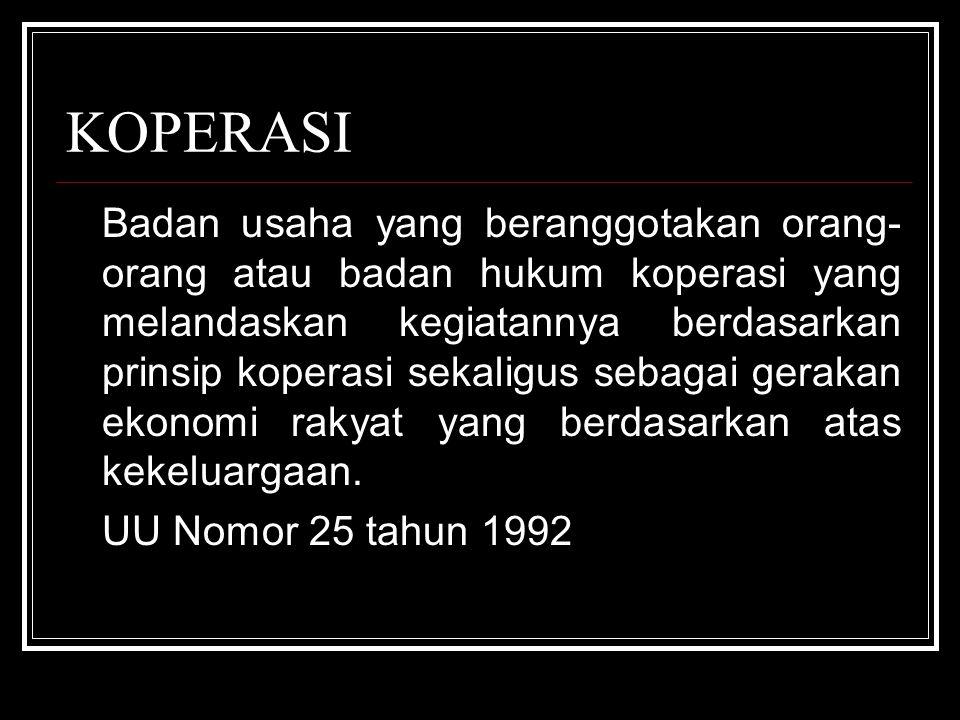 KOPERASI UU Nomor 25 tahun 1992