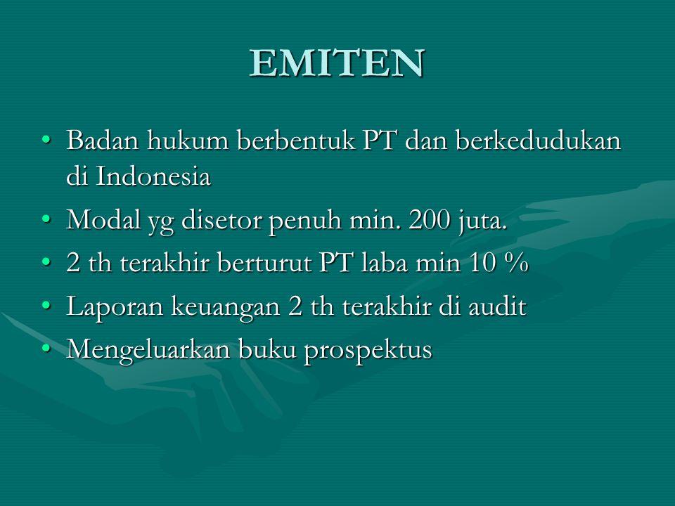 EMITEN Badan hukum berbentuk PT dan berkedudukan di Indonesia