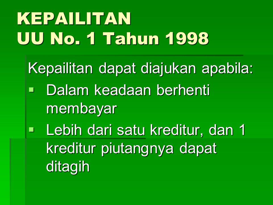 KEPAILITAN UU No. 1 Tahun 1998 Kepailitan dapat diajukan apabila: