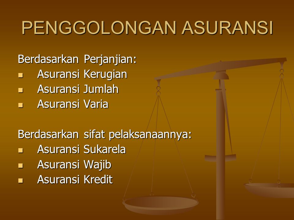 PENGGOLONGAN ASURANSI
