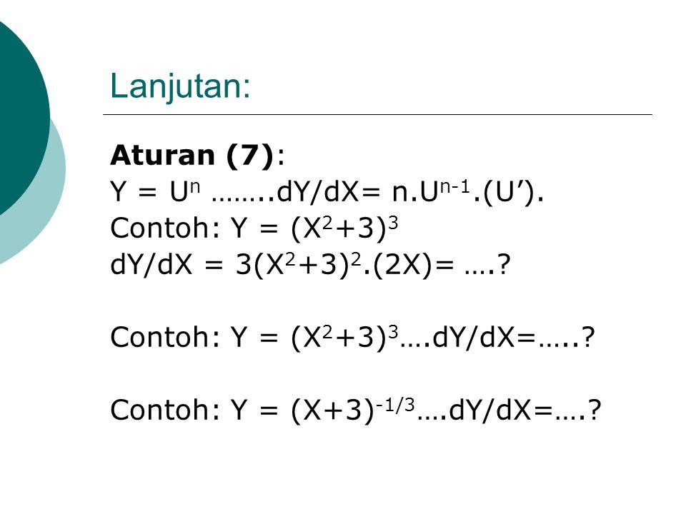 Lanjutan: Aturan (7): Y = Un ……..dY/dX= n.Un-1.(U').