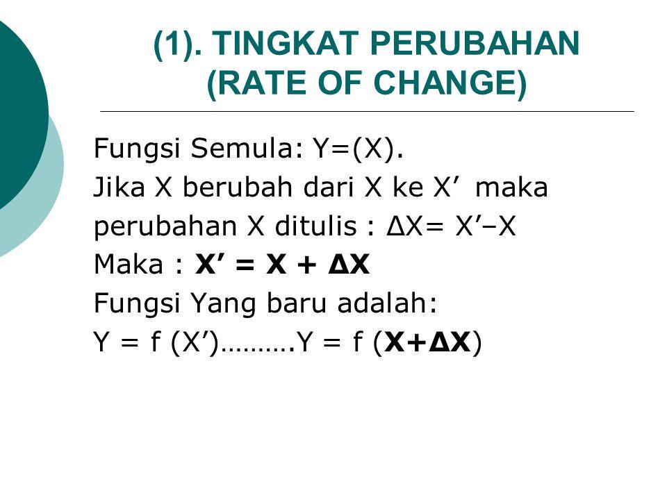 (1). TINGKAT PERUBAHAN (RATE OF CHANGE)