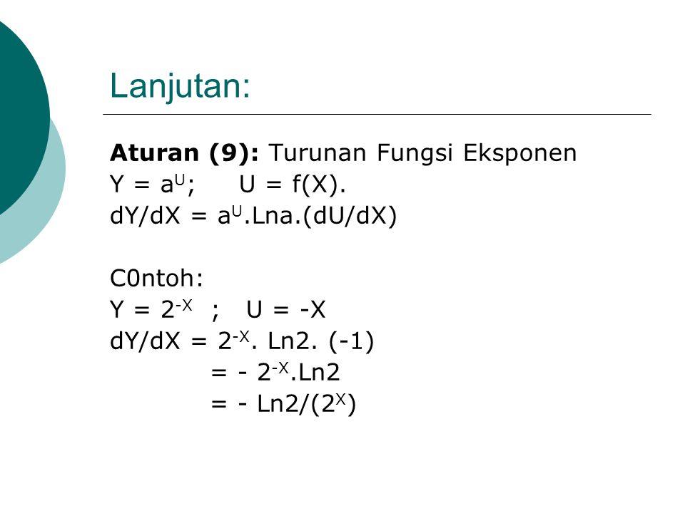 Lanjutan: Aturan (9): Turunan Fungsi Eksponen Y = aU; U = f(X).