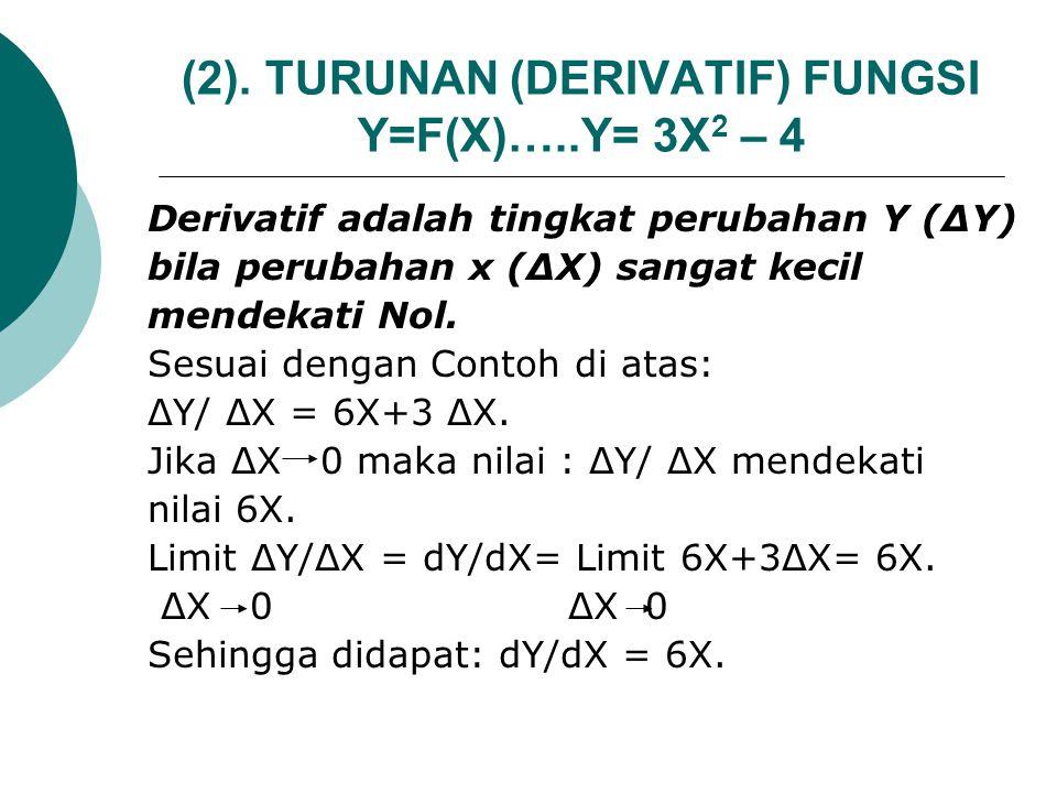 (2). TURUNAN (DERIVATIF) FUNGSI Y=F(X)…..Y= 3X2 – 4