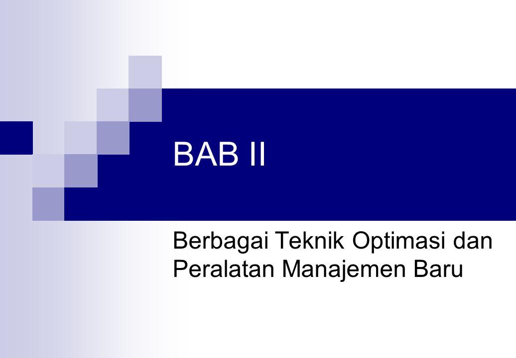 Berbagai Teknik Optimasi dan Peralatan Manajemen Baru