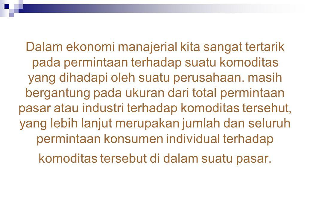 Dalam ekonomi manajerial kita sangat tertarik pada permintaan terhadap suatu komoditas yang dihadapi oleh suatu perusahaan.