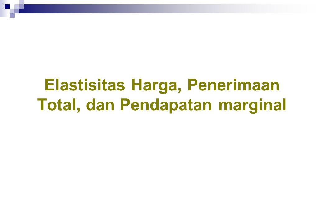 Elastisitas Harga, Penerimaan Total, dan Pendapatan marginal