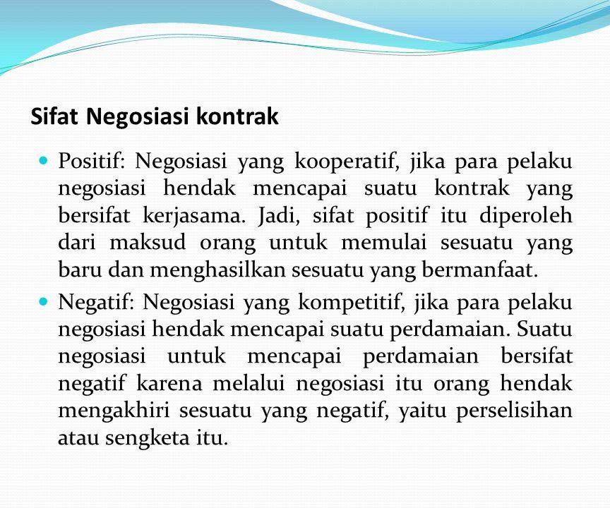 Sifat Negosiasi kontrak