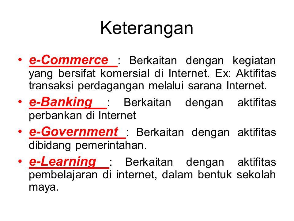 Keterangan e-Commerce : Berkaitan dengan kegiatan yang bersifat komersial di Internet. Ex: Aktifitas transaksi perdagangan melalui sarana Internet.
