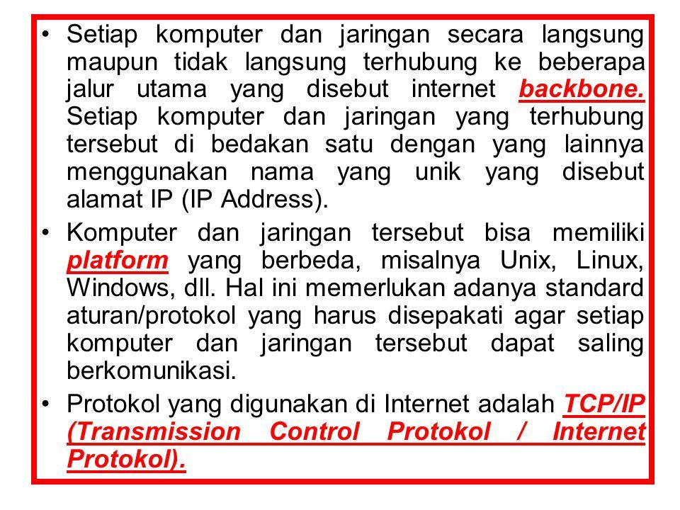 Setiap komputer dan jaringan secara langsung maupun tidak langsung terhubung ke beberapa jalur utama yang disebut internet backbone. Setiap komputer dan jaringan yang terhubung tersebut di bedakan satu dengan yang lainnya menggunakan nama yang unik yang disebut alamat IP (IP Address).