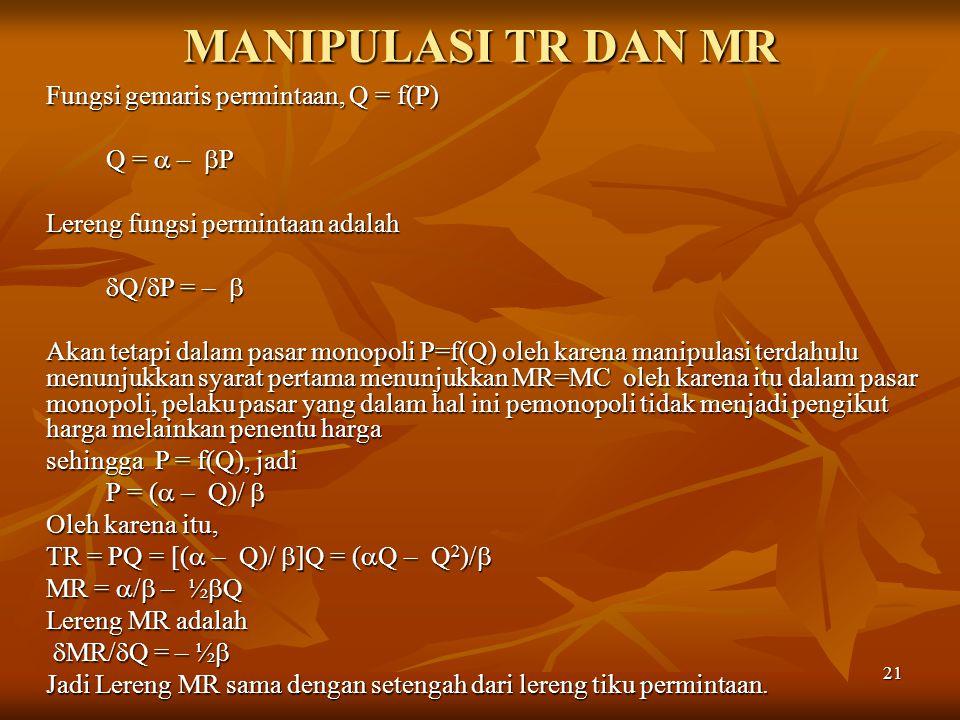 MANIPULASI TR DAN MR Fungsi gemaris permintaan, Q = f(P) Q =  – P