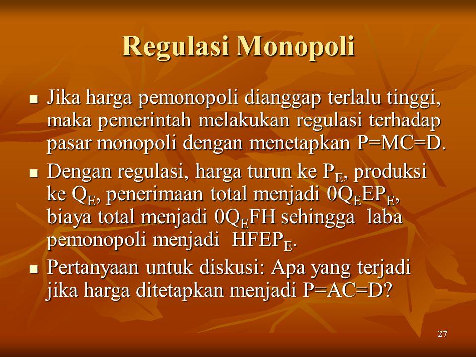 Regulasi Monopoli Jika harga pemonopoli dianggap terlalu tinggi, maka pemerintah melakukan regulasi terhadap pasar monopoli dengan menetapkan P=MC=D.