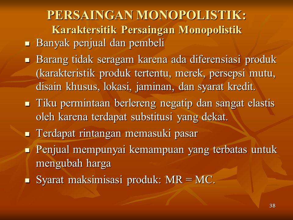 PERSAINGAN MONOPOLISTIK: Karaktersitik Persaingan Monopolistik